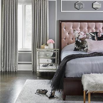 Pink And Gray Romantic Bedroom Design Design Ideas
