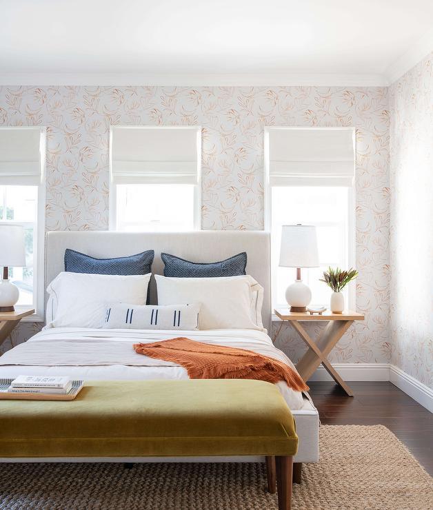 Fine White Linen Bed With Olive Green Velvet Bench Transitional Pdpeps Interior Chair Design Pdpepsorg