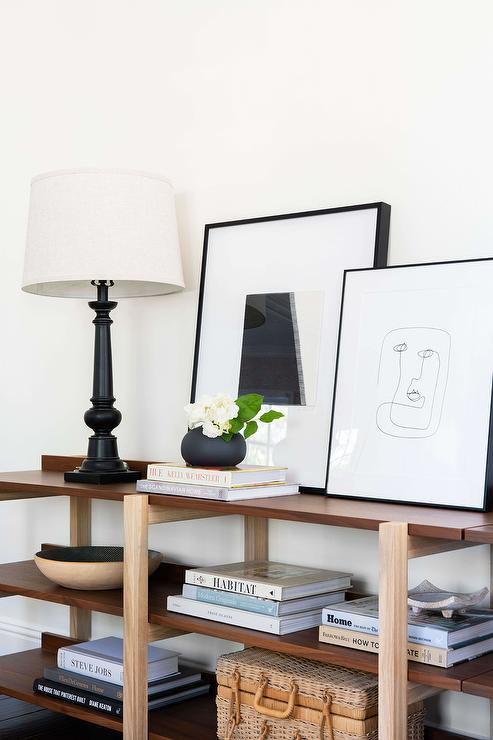Two Tone Wooden Console Table With Coffee Table Books