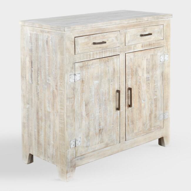 Leigh Whitewash Wood Storage Cabinet, Whitewashing Oak Cabinets