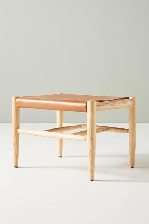 Super Sydney Leather Sling Wood Ottoman Spiritservingveterans Wood Chair Design Ideas Spiritservingveteransorg