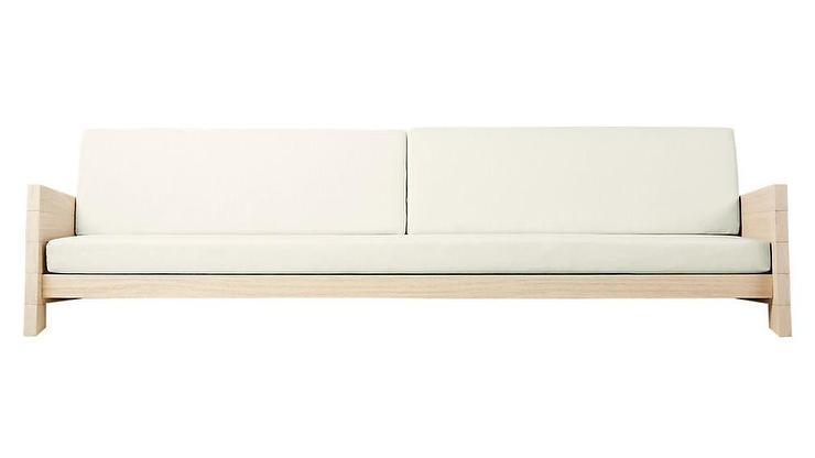 Lunes White Wood Cushion Outdoor Sofa