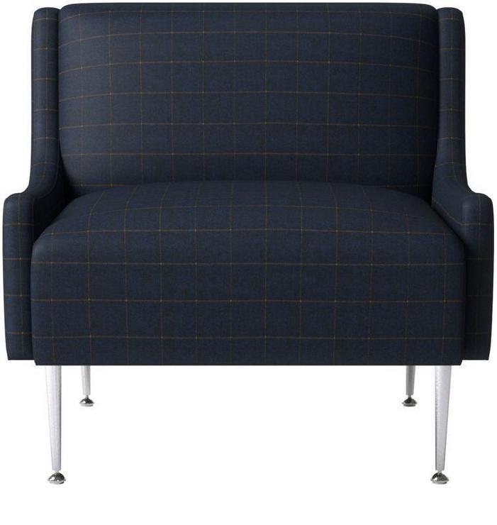 Regent Navy Plaid Wingback Chair