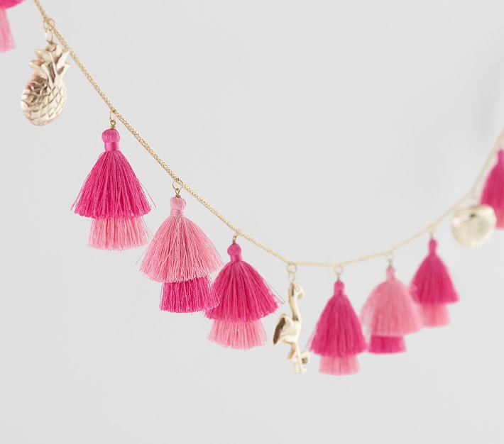 tassel wall decor.htm lilly pulitzer pink gold tassel garland  lilly pulitzer pink gold tassel garland
