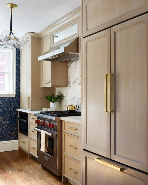 Acorn Stained Kitchen Cabinets with Brass Hardware ...