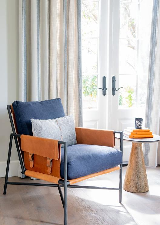 Orange and Blue Accent Chair - Transitional - Living Room