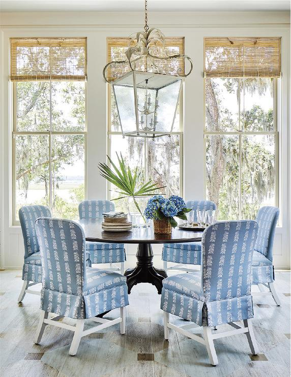 Prime Blue Skirted Dining Chairs With Round Black Dining Table Ibusinesslaw Wood Chair Design Ideas Ibusinesslaworg