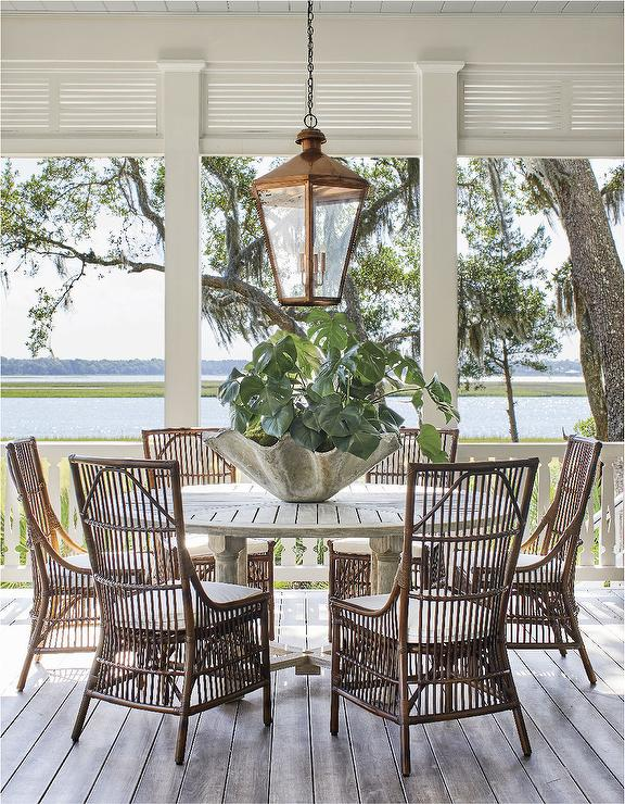 Phenomenal Round Gray Teak Slatted Top Outdoor Dining Table With Rattan Short Links Chair Design For Home Short Linksinfo