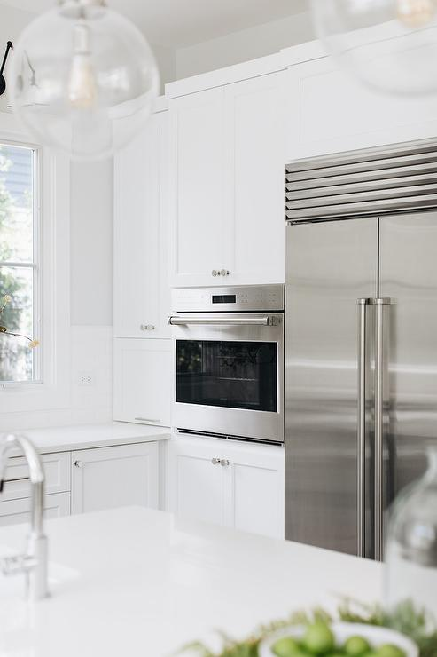 White Shaker Cabinets With Stainless Steel Appliances Transitional Kitchen