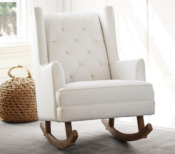 Remarkable Modern White Tufted Wingback Convertible Rocking Chair Customarchery Wood Chair Design Ideas Customarcherynet