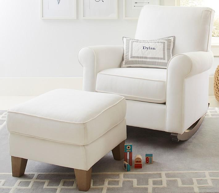 Peachy Charleston White Convertible Rocking Chair Ottoman Set Inzonedesignstudio Interior Chair Design Inzonedesignstudiocom