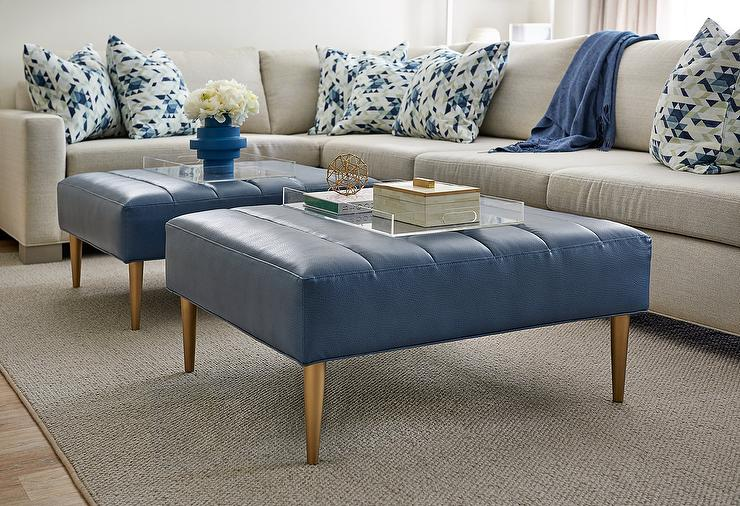 Blue Channel Tufted Ottomans With Gold Legs Transitional