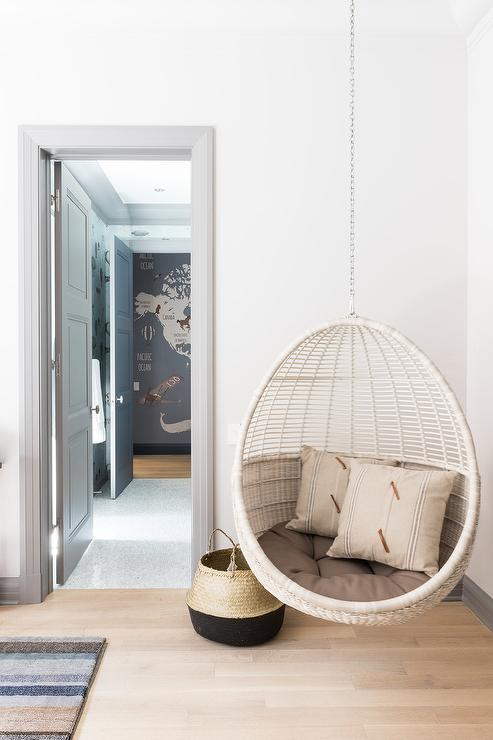 Boys Room with Corner Hanging Rattan Chair - Transitional ...