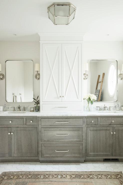 Brown Stained Oak Bath Vanity With Honed Marble Countertop Transitional Bathroom