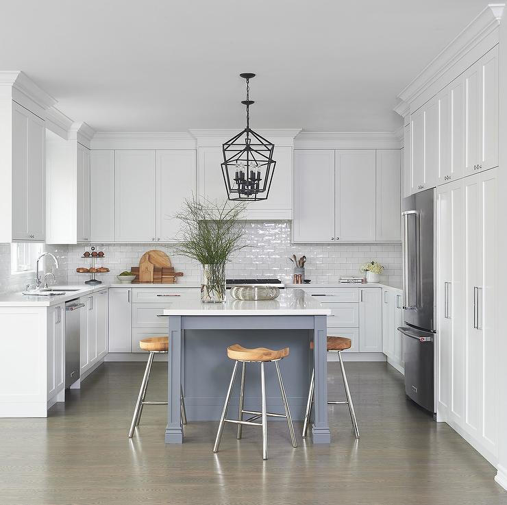 White U Shaped Kitchen with Gray Island - Transitional - Kitchen