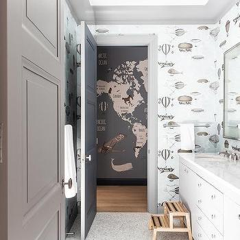 Gray Subway Tile Contemporary Bathroom White Amp Gold