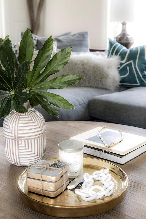 Brass And Glass Coffee Table Eclectic Living Room