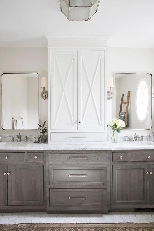 Brown Stained Oak Bath Vanity Cabinets, Large Bathroom Vanity Cabinets
