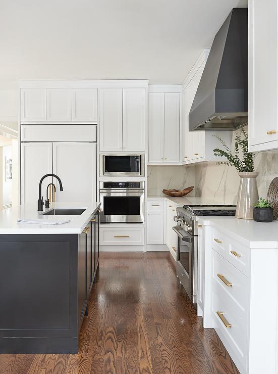 Black And White Kitchen With Black Range Hood Transitional Kitchen