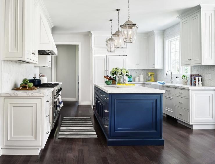Navy Blue Kitchen Island In White Kitchen Transitional