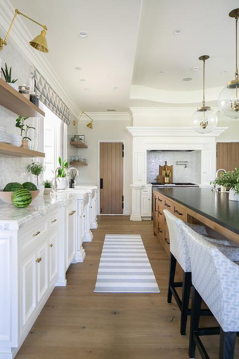 White Kitchen with Extra Large brown Kitchen Island ...