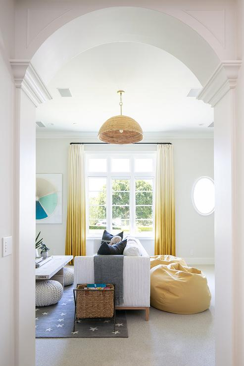 Yellow Ombre Curtains Transitional Living Room