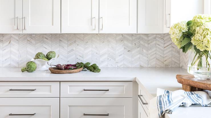 Thin White And Silver Marble Herringbone Kitchen Tiles Transitional Kitchen