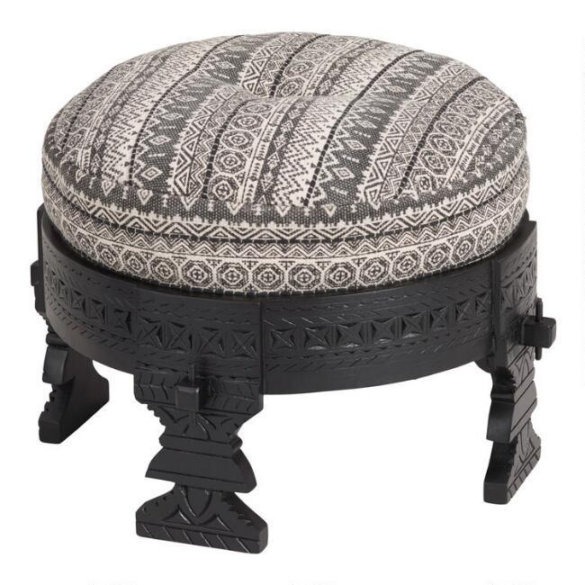 Admirable Bajot Round Black White Striped Carved Stool Pabps2019 Chair Design Images Pabps2019Com