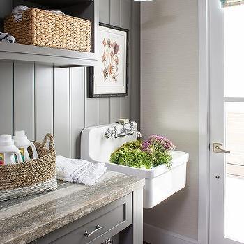 Wall Mount Vintage Laundry Room Sink Design Ideas