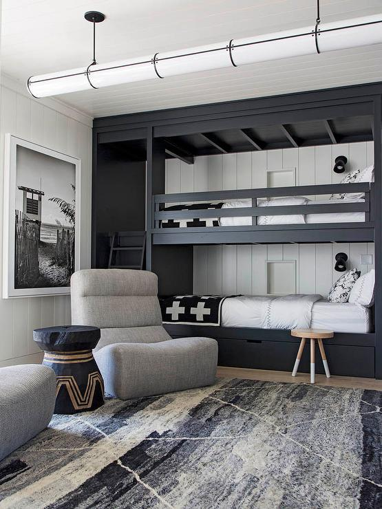 Black and White Boys Room with Gray Lounge Chair - Cottage - Bedroom