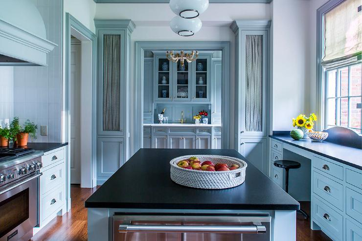 Blue Kitchen With Black Countertops Transitional Kitchen