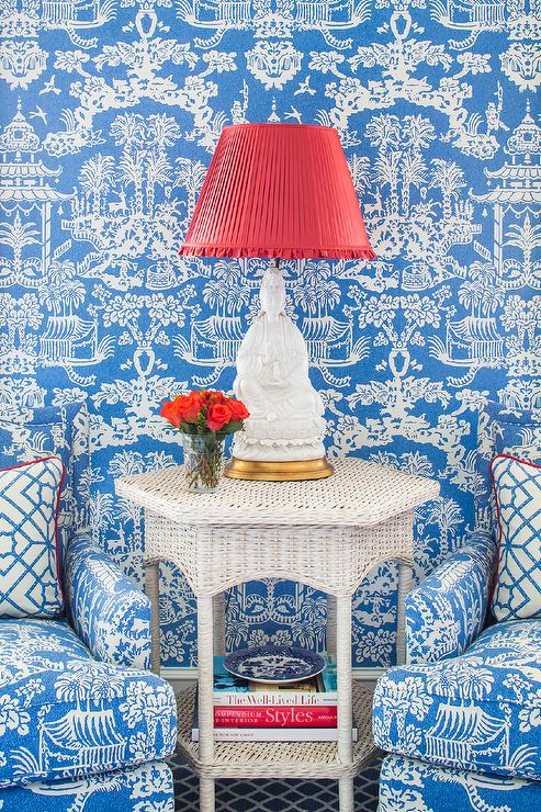 Fabulous Blue Pagoda Wallpaper With Blue Pagoda Print Accent Chairs Inzonedesignstudio Interior Chair Design Inzonedesignstudiocom