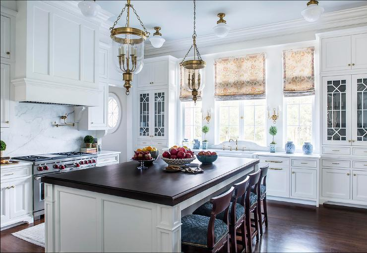 Traditional White Kitchen with Butcher Block Island ...