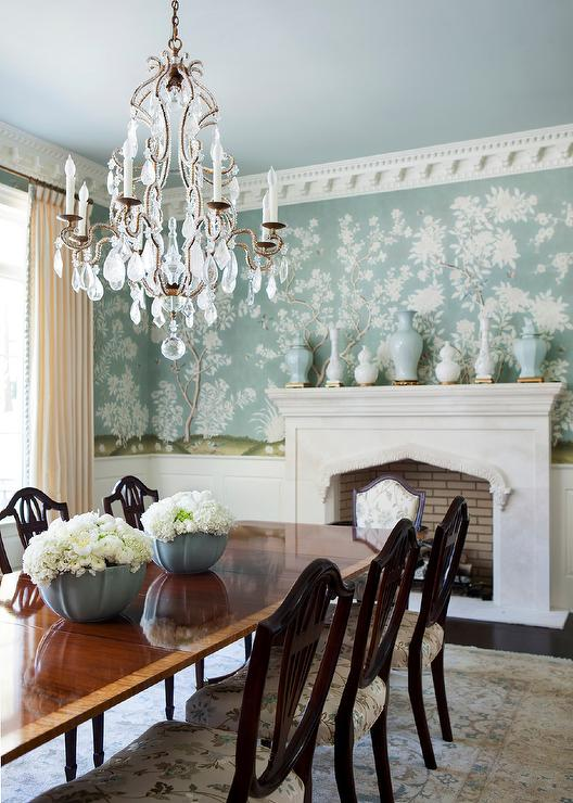 French Dining Room With Blue Chinoiserie Wallpaper Traditional