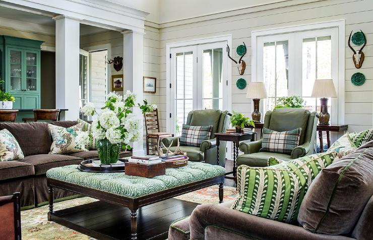 Brown Velvet Sofa with Green Tufted Ottoman - Country ...