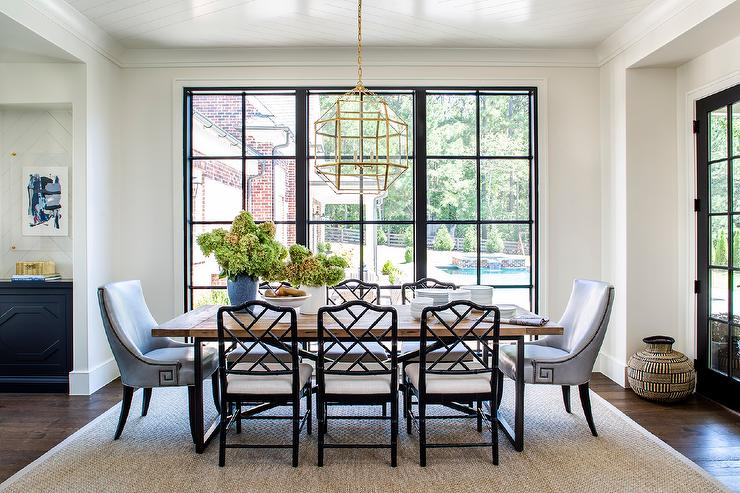 Wood And Metal Dining Table With Black Bamboo Chairs Transitional Dining Room