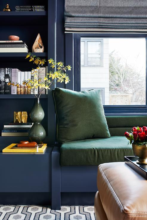 Fantastic Blue Den With Blue Built In Bookcases Contemporary Den Creativecarmelina Interior Chair Design Creativecarmelinacom