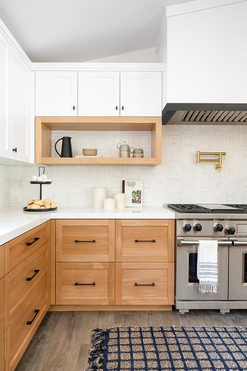 Golden Oak Kitchen Cabinets with White Geometric Tiles ...