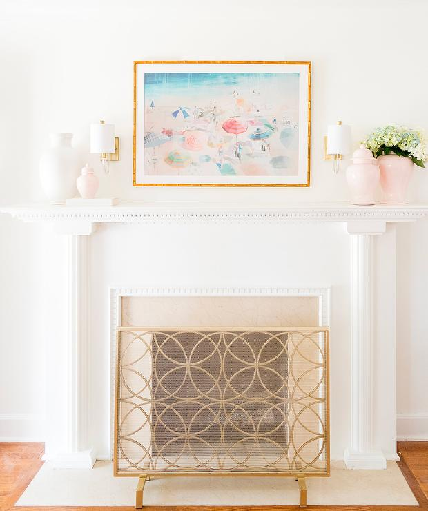 Gold Fireplace Screen In Front Of White Fireplace Mantel Transitional Living Room