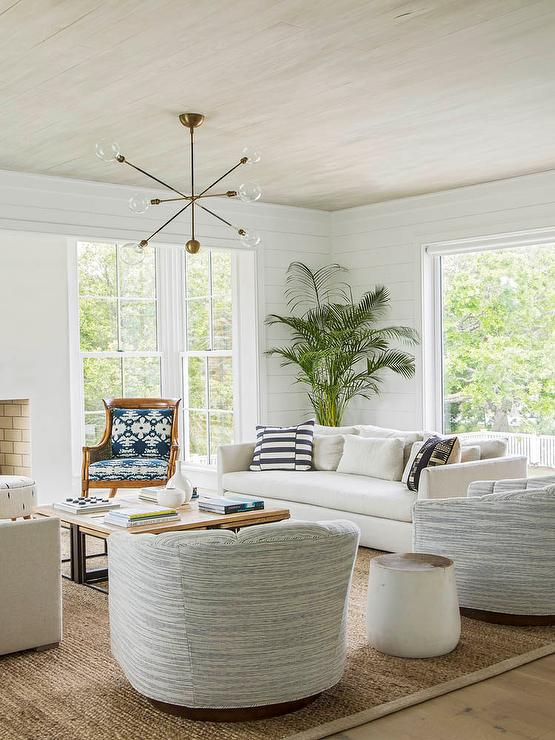 Enjoyable Black And White Stripe Pillows On White Sofa Transitional Pabps2019 Chair Design Images Pabps2019Com