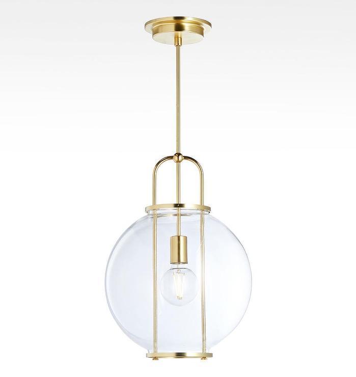 Yeon Glass Globe Brass 1 Light Pendant