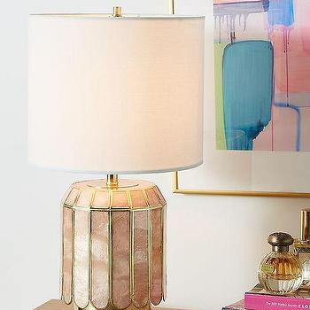 Shelley Black Table Lamp With White Novelty Shade