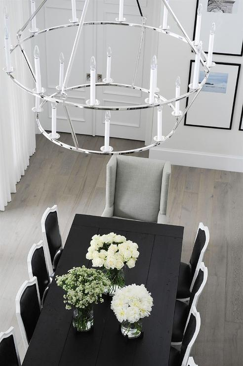 Tremendous Black Oak Dining Table With Black And White French Leather Customarchery Wood Chair Design Ideas Customarcherynet