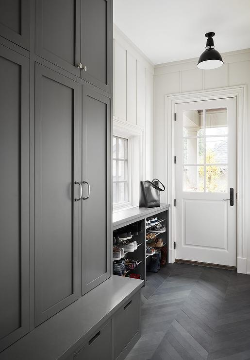Charcoal Gray Chevron Pattern Mudroom Floor Tiles Transitional Laundry Room