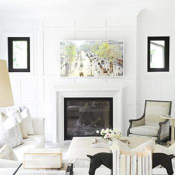 Living Room Fireplace Between Windows Design Ideas