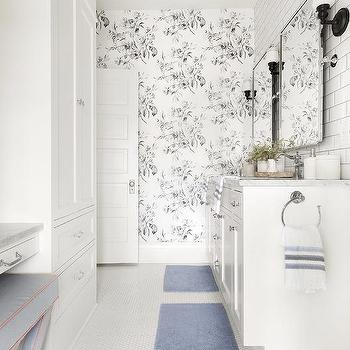 White And Black Floral Bathroom Wallpaper Design Ideas
