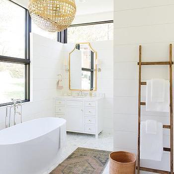 White And Gold Master Bathroom Design Ideas