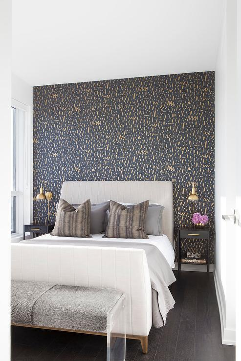 Gray Headboard On Gold And Black Accent Wall Contemporary Bedroom