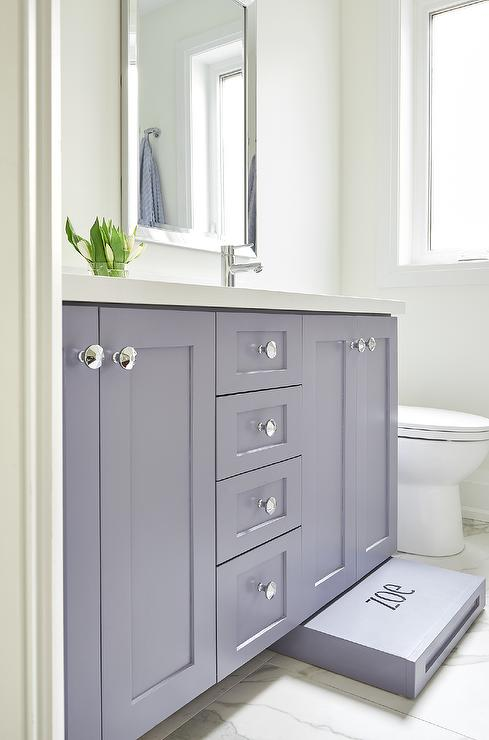 Enjoyable Purple Bath Vanity With Built In Pull Out Step Stool Camellatalisay Diy Chair Ideas Camellatalisaycom