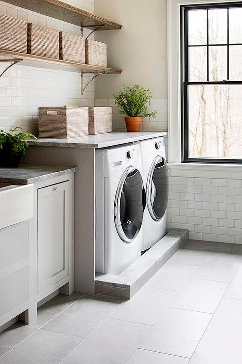 Wood Shelf Over Washer And Dryer Design Ideas